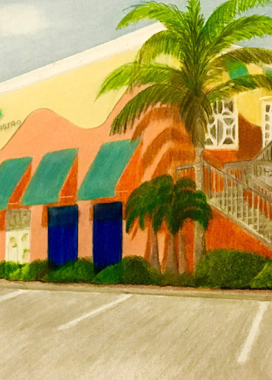 City Tropics Bistro, From an Original Colored Pencil Painting