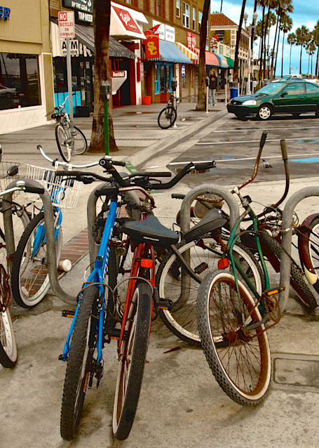 early morning pier parking lot and cruiser bikes