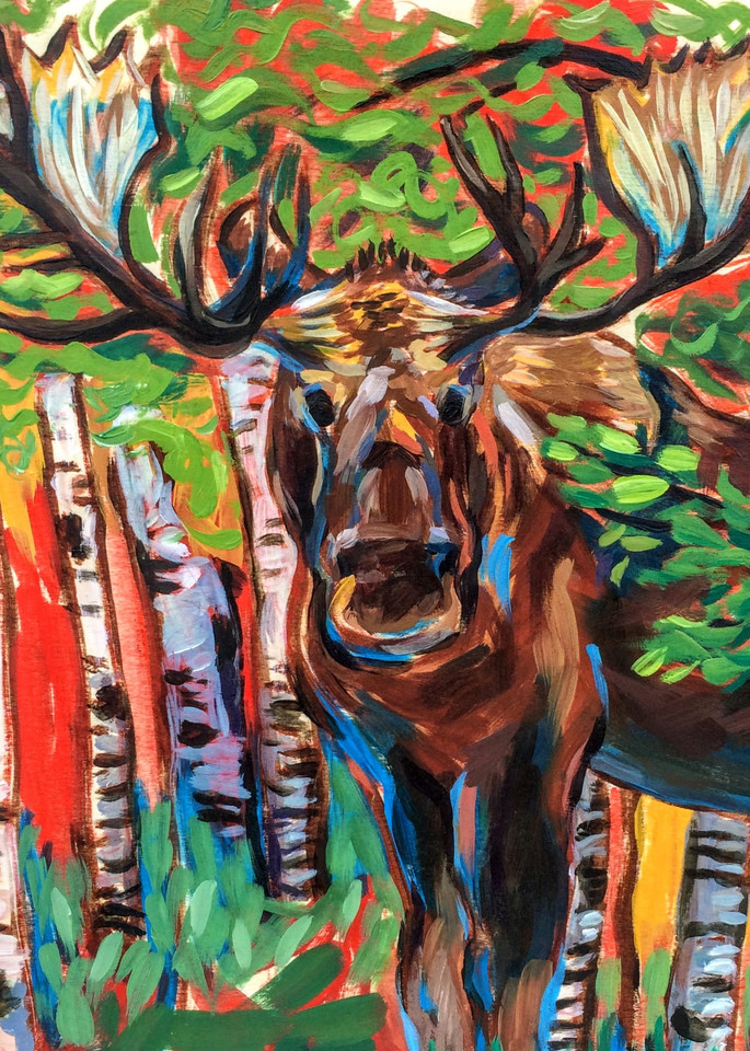 Bauhaus Moose   Alaska Art Print Art | Amanda Faith Alaska Paintings / Estuary Arts, LLC