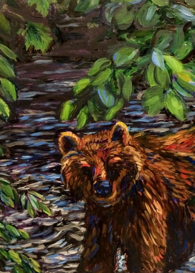 Riverside Brown Bear Art   Amanda Faith Alaska Paintings / Estuary Arts, LLC