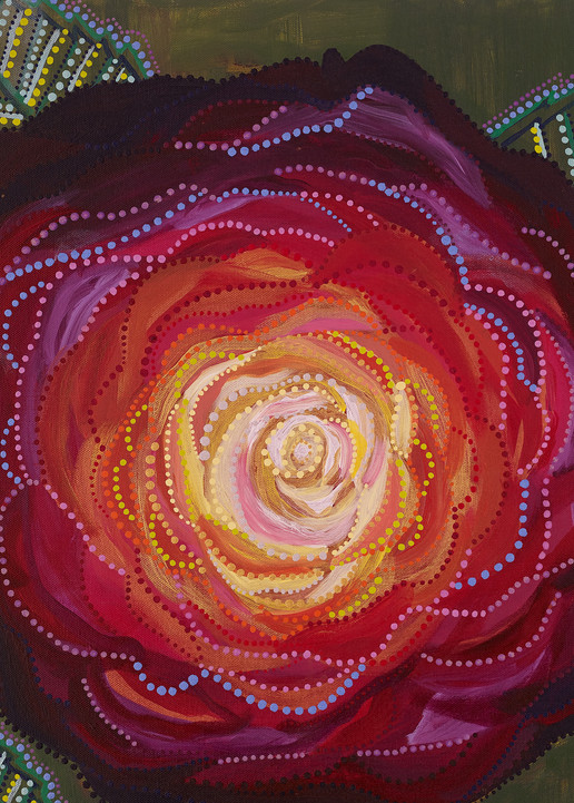 Red Rose Leaf Print