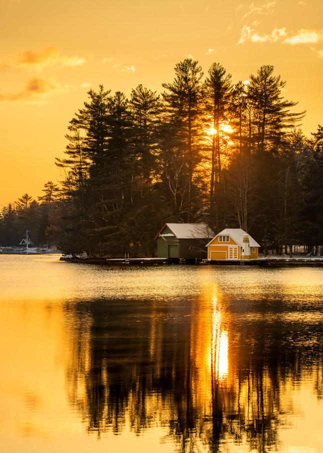 Old Forge Pond Yellow Sunrise Photography Art | Kurt Gardner Photogarphy
