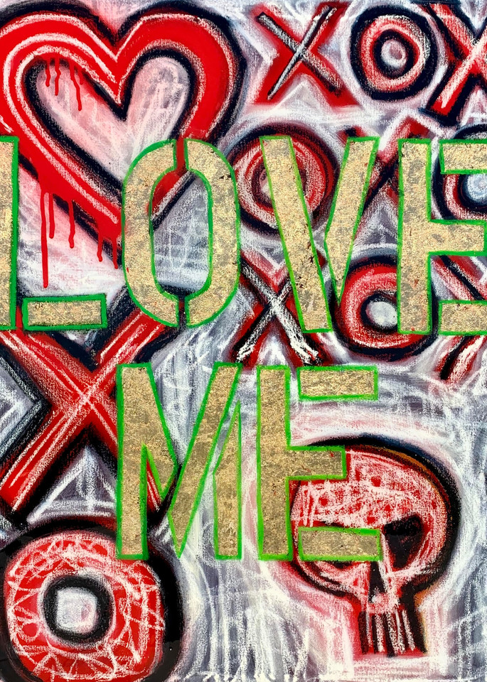 Love Me: XO Mixed Media Painting by Paul Zepeda Available as Prints - Wet Paint NYC Gallery