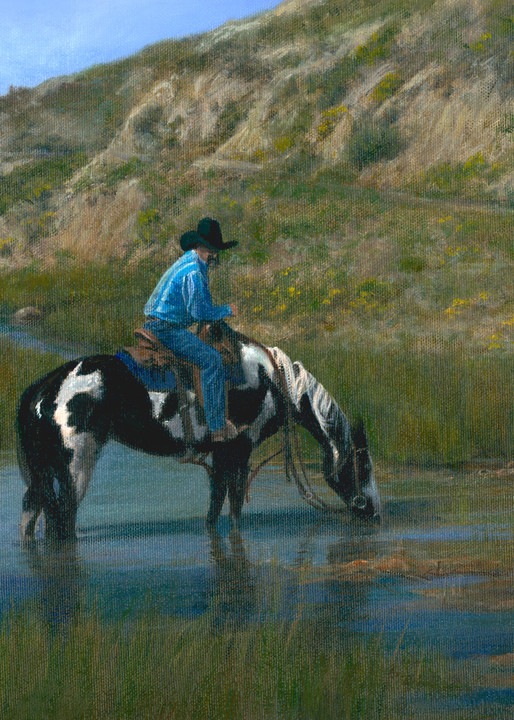 cowboy, western-painting, badlands