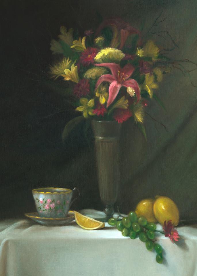 still-life, print, stargazer-lilies, floral-painting, teatime