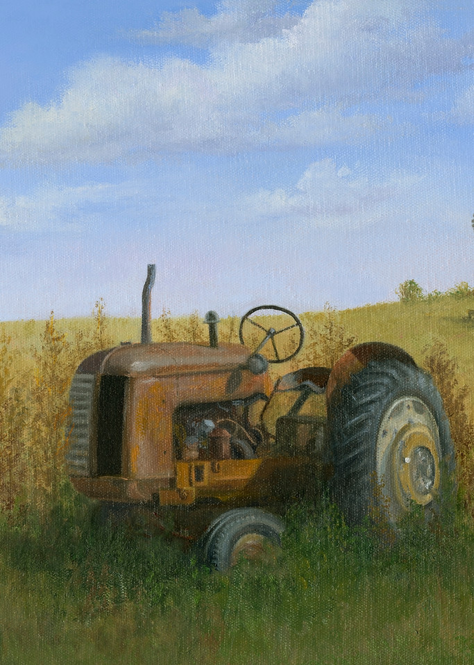 print, old-tractor, red-tractor, windmill, cockshott, cockshott-tractor
