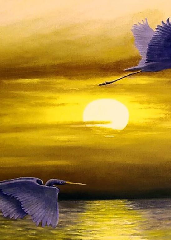 Sunset Flight, From an Original Oil Painting