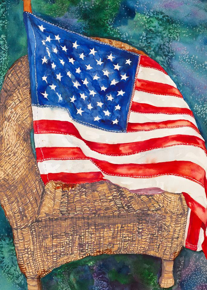 Old Glory, Original Watercolor Painting