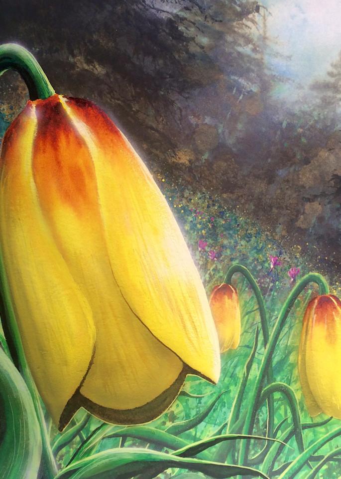 Mission Bells is a floral watercolor by Montana artist Joe Ziolkowski