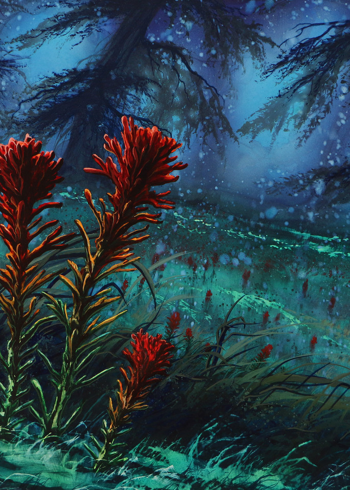 Indian Paintbrush is a floral watercolor by Montana artist Joe Ziolkowski.