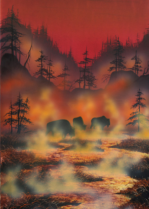Honeymoon in Yellowstone, a buffalo and Yellowstone Park art print by Montana artist, Joe Ziolkowski.