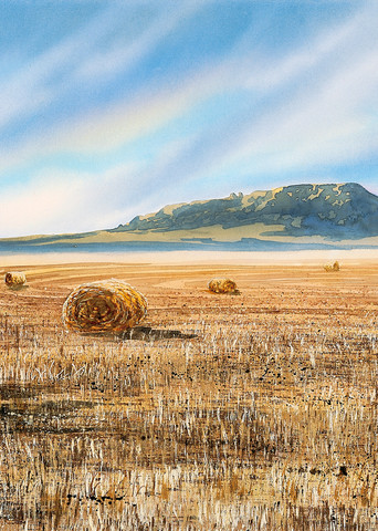 Sweet Rolls a watercolor print of Square Butt and hay bales in Central Montana by artist Joe Ziolkowski.