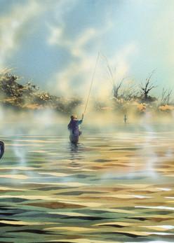 Breakfast Hole, a fine art print of fly fishing on the Big Horn River by Montana artist Joe Ziolkowski.