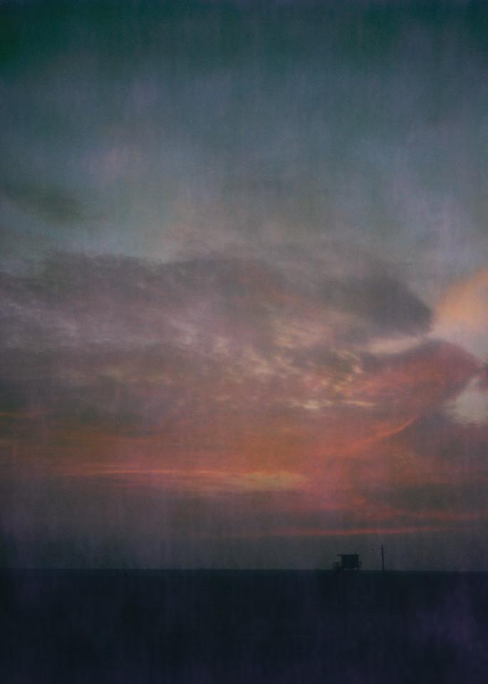 Red Sky   Santa Monica Beach Photography Art   Julian Whatley Photography