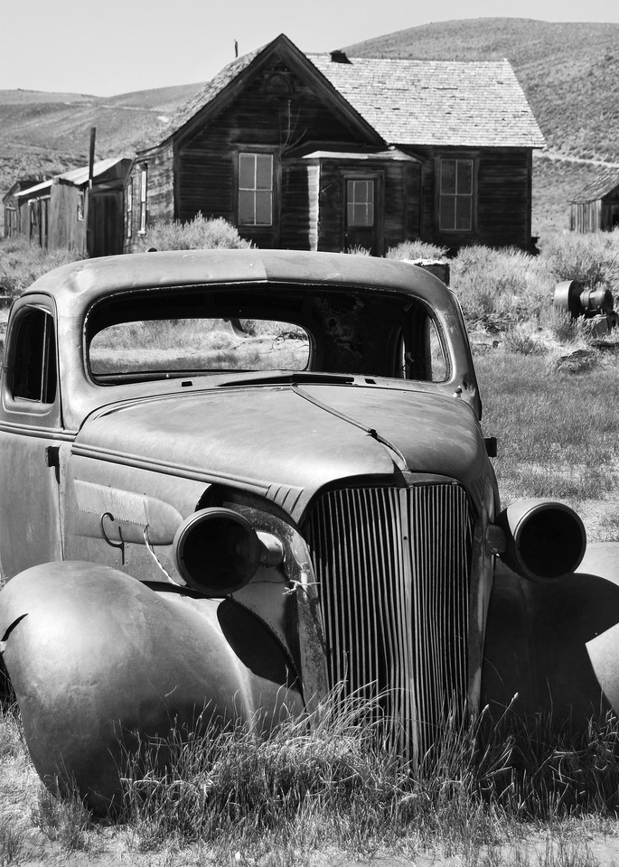 Old Car in Bodie Photograph – B&W Art Photography - Fine Art Prints on Canvas, Paper, Metal & More