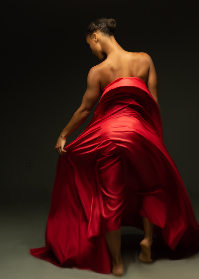 Rebel Fitz, Dancer, Back with Red Fabric, Painted