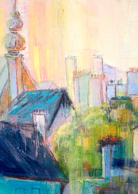 Dinan Rooftops Sunrise Painting by Dorothy Fagan