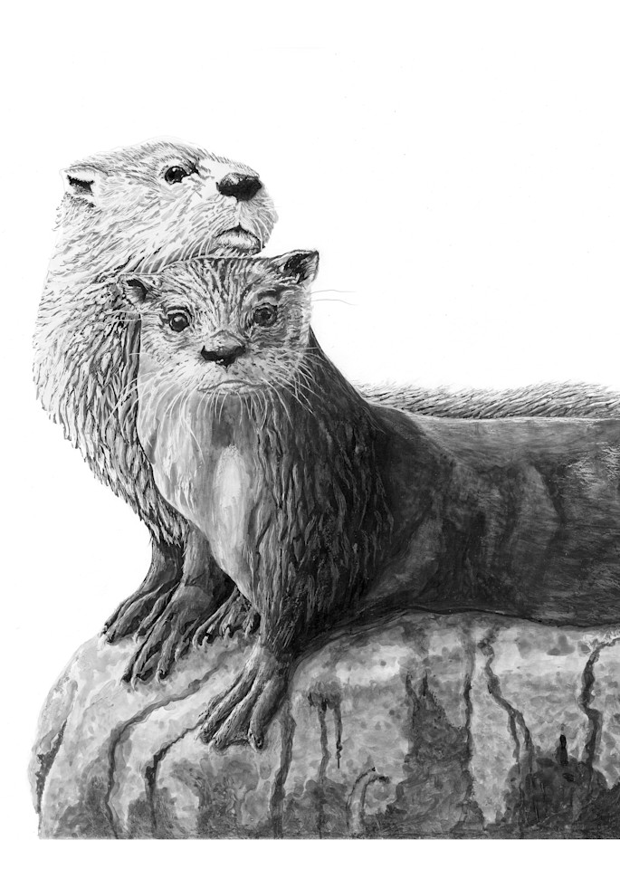 """""""The Lovers""""   River Otters Art 