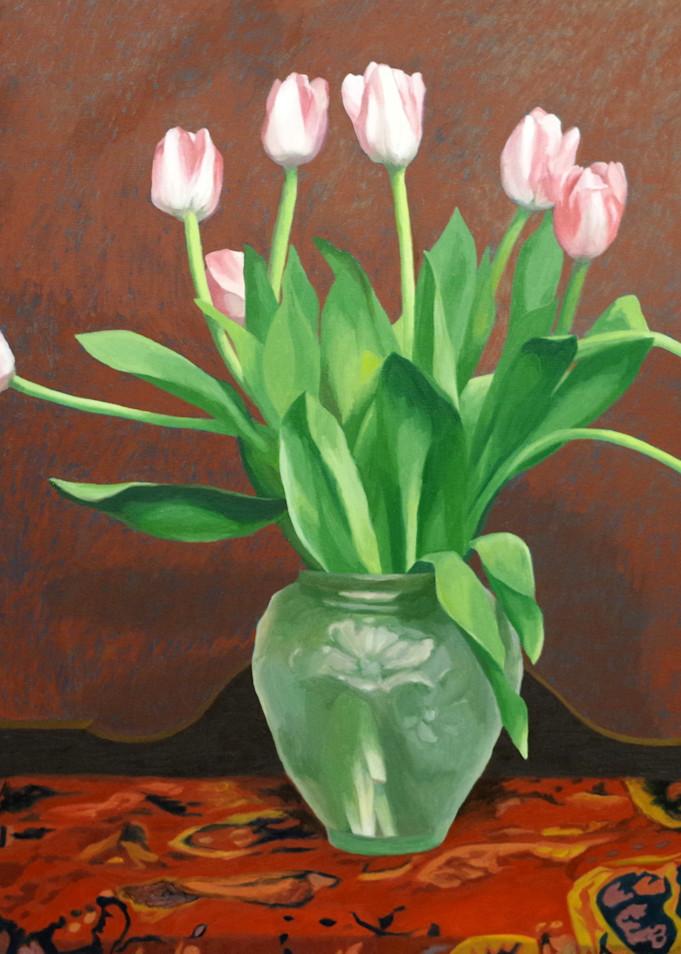 Nine Tulips In A Green Glase Vase Art | Helen Vaughn Fine Art