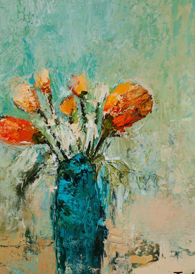 Delicate Orange Flowers In Vase Canvas Wall Art Print