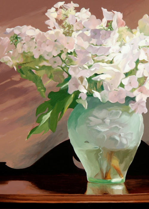 White Hydrangeas In A Green Vase Art | Helen Vaughn Fine Art