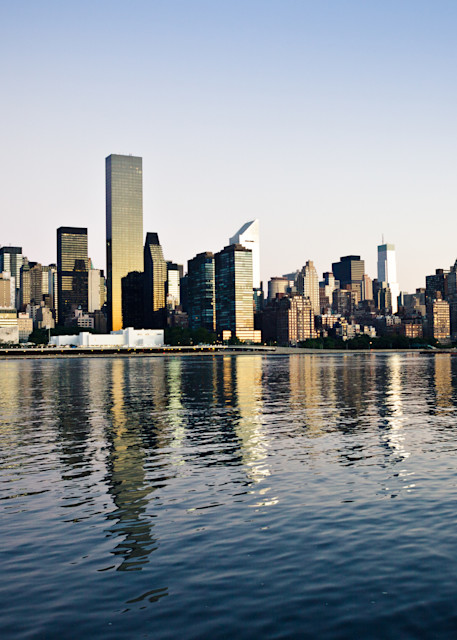 View of Manhattan across the waters from Brooklyn in the early morning.