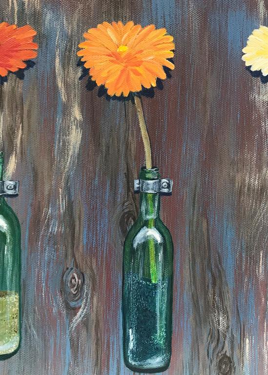 Fresh Flowers In Green Glass Bottles 2 Of 2 Art   alanajudahart