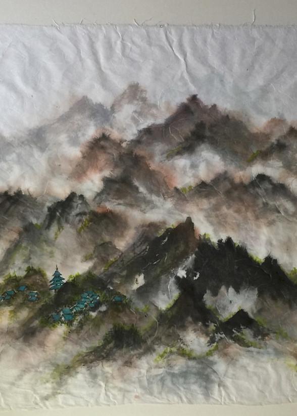 Blue Village In The Mountains Art   donnadacuti