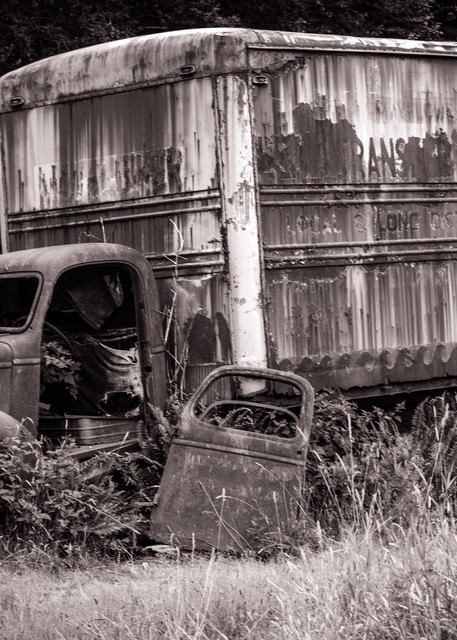 Broken Down - old truck on the Kestner homestead in Quinault, Washington photograph print