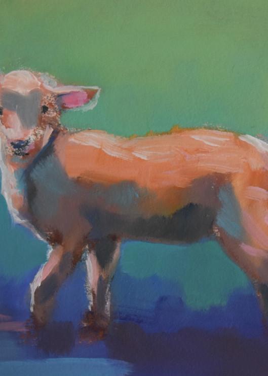 Lamb On Blue Art | Sharon Guy