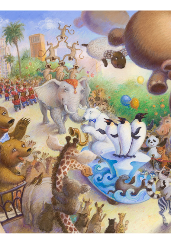 Animals gather to watch a parade