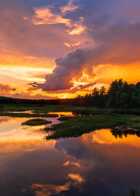 Moose River Sunset Orange Photography Art | Kurt Gardner Photogarphy Gallery