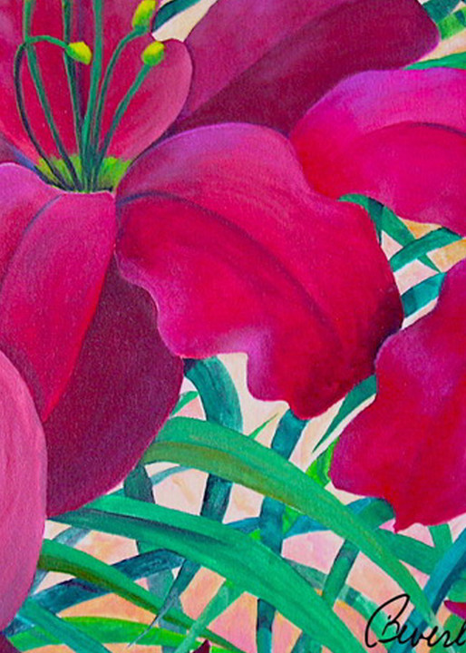 Burgandy Lilies, From an Original Acrylic Painting