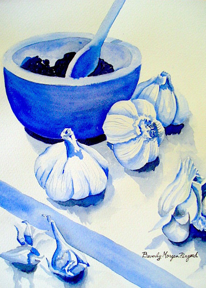 Garlic Blues, From an Original Watercolor Painting
