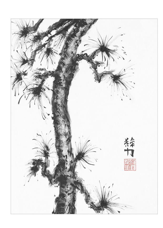 sumi-e, pinetree, seven, black, ink