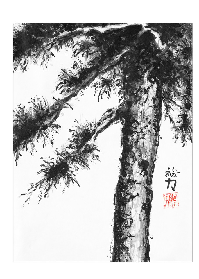 sumi-e, pinetree, eight, black, ink