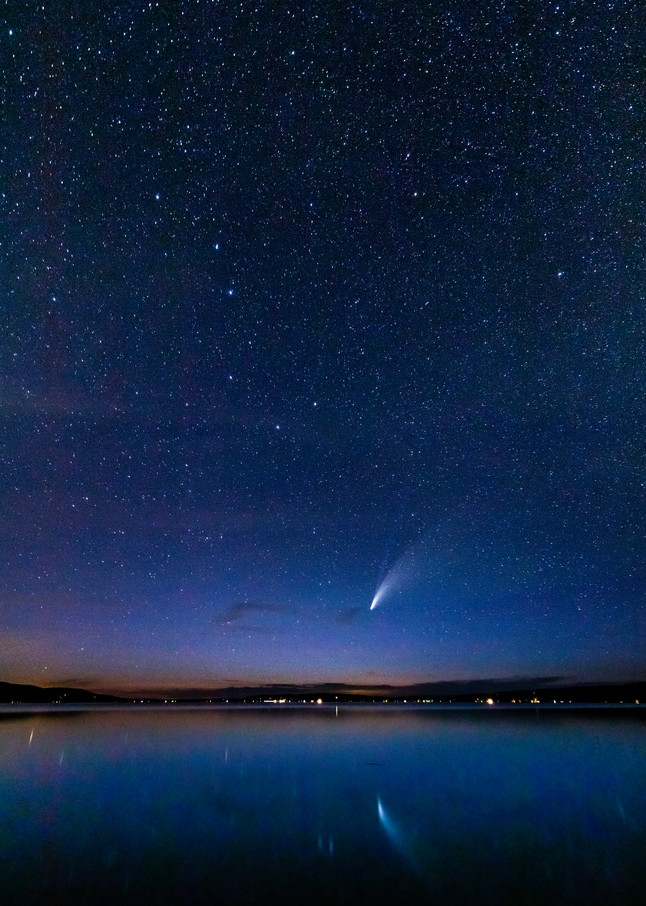 Comet Neowise Over Crystal Lake Photography Art   Drew Smith Photography, LLC