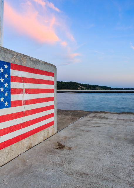 Stars And Stripes At The Portage Lake Lighthouse Photography Art | Drew Smith Photography, LLC