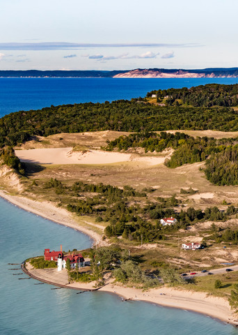 Aerial View Of Point Betsie Lighthouse Photography Art | Drew Smith Photography, LLC