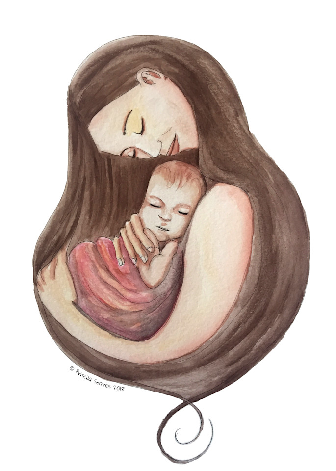 Nurturing Mother Illustration in Watercolor