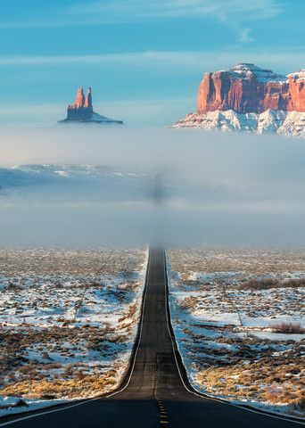 Highway Through The Clouds Semi Panorama Photography Art | Ken Smith Gallery
