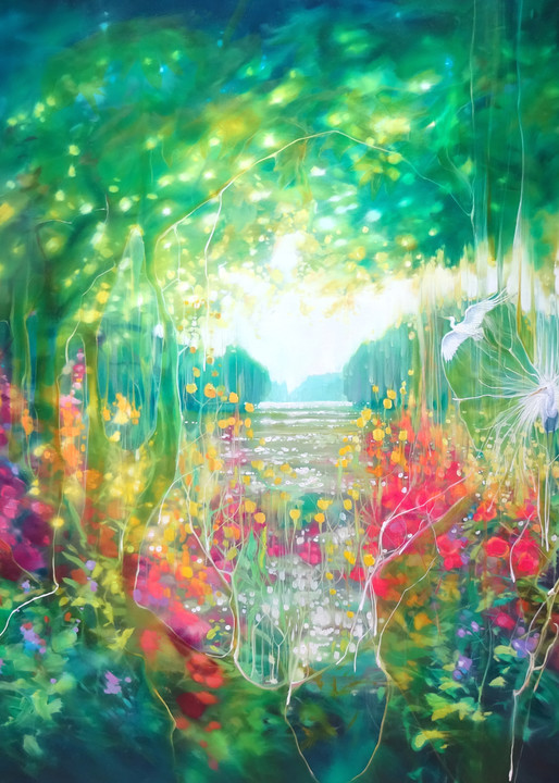 print on canvas or paper of a magical summer landscape with birds and flowers by a lake.