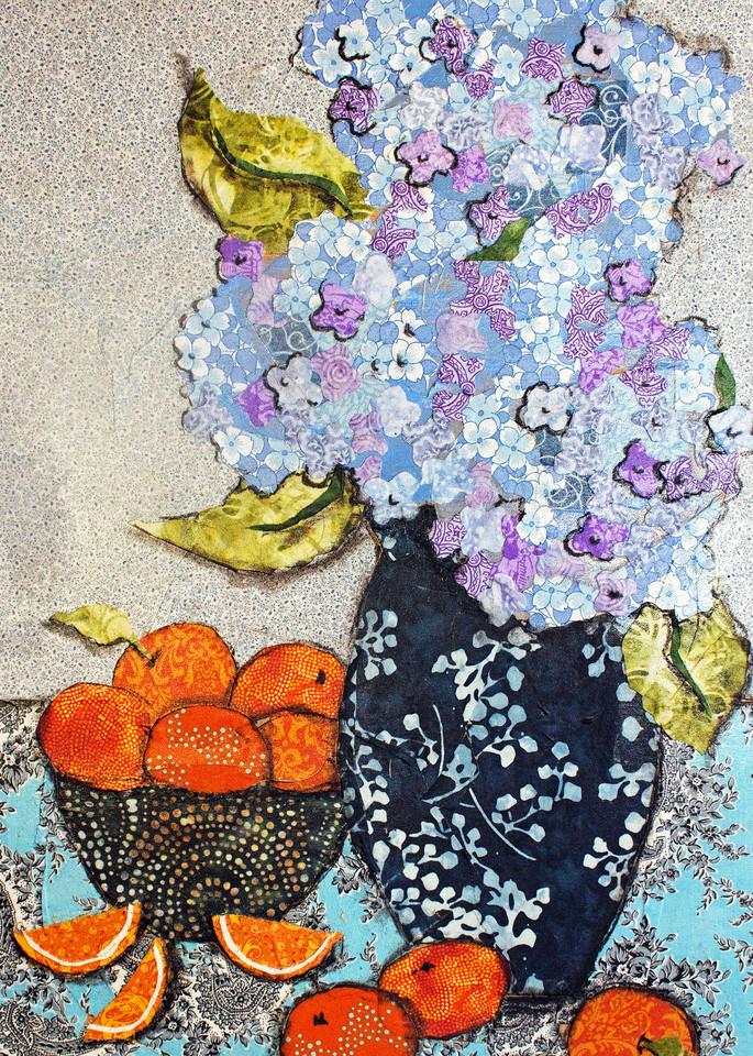 Hydrangea And Oranges Print Art | Sharon Tesser LLC