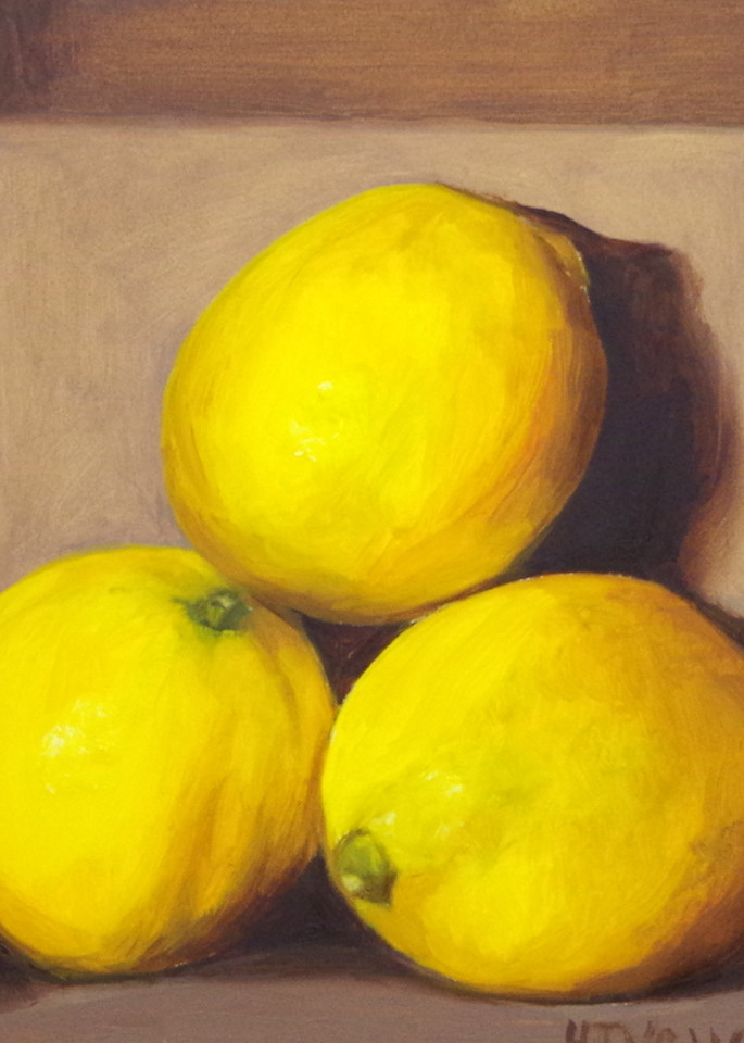 Three Lemons In A Cardboard Box Art | Helen Vaughn Fine Art