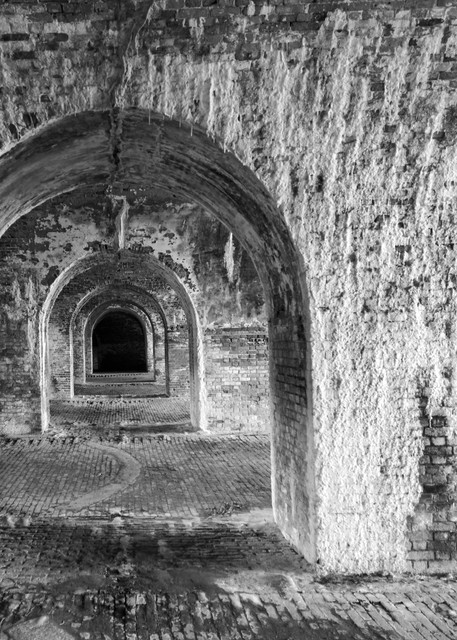 Fort Morgan Arches in Black and White