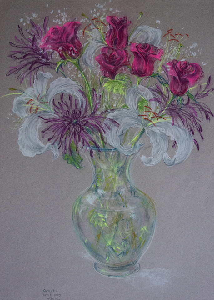 Bouquet With Lillies, Pastel On Paper, 2009 Art   Roost Studios, Inc.