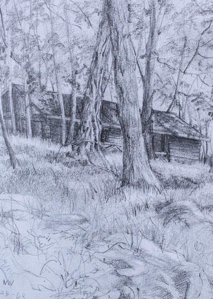 Abandoned Cabin At Harriman, Pencil Sketch, 1992 Art | Roost Studios, Inc.