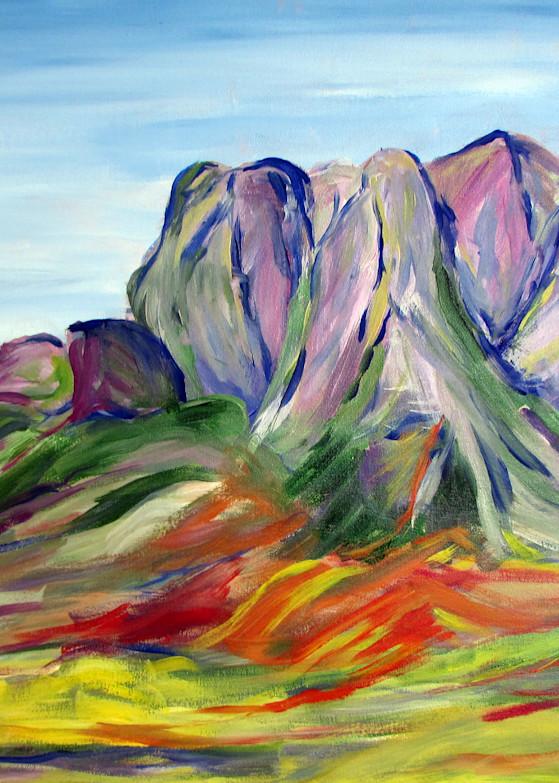 Pink Mountains Stellenbosch Art   Linda Sacketti