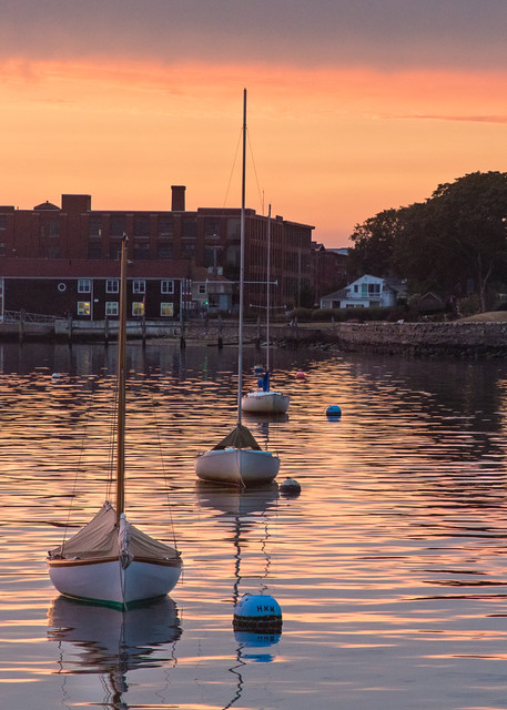 """Wally Park Summer Sunset"" - Bristol RI Herreshoff Sailboats Harbor Fine Art Art Photograph"