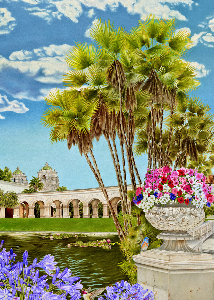 Balboa Park ~ Centennial Tribute   The Lily Pond And The Domes Of Casa Del Prado   Prints Art | Mercedes Fine Art